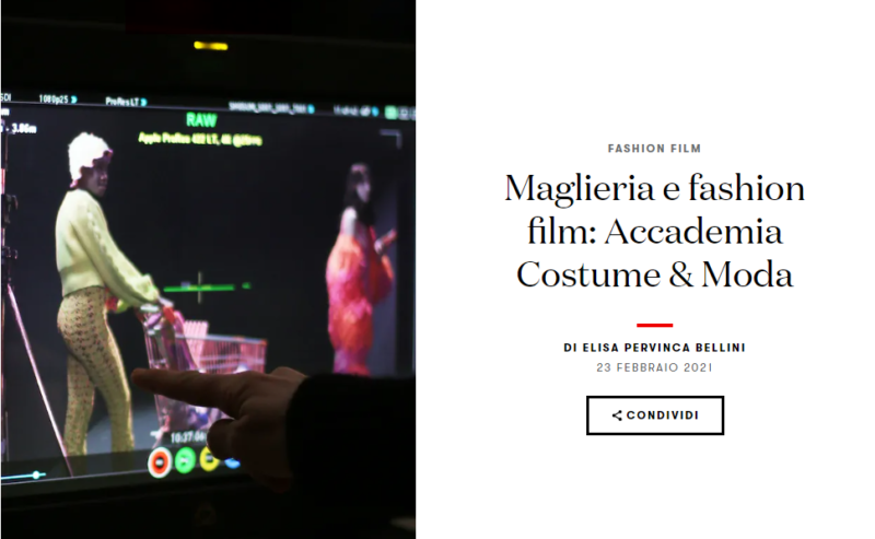 Maglieria e fashion film: Accademia Costume & Moda